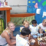 Volunteer Taking Care Children Galapagos